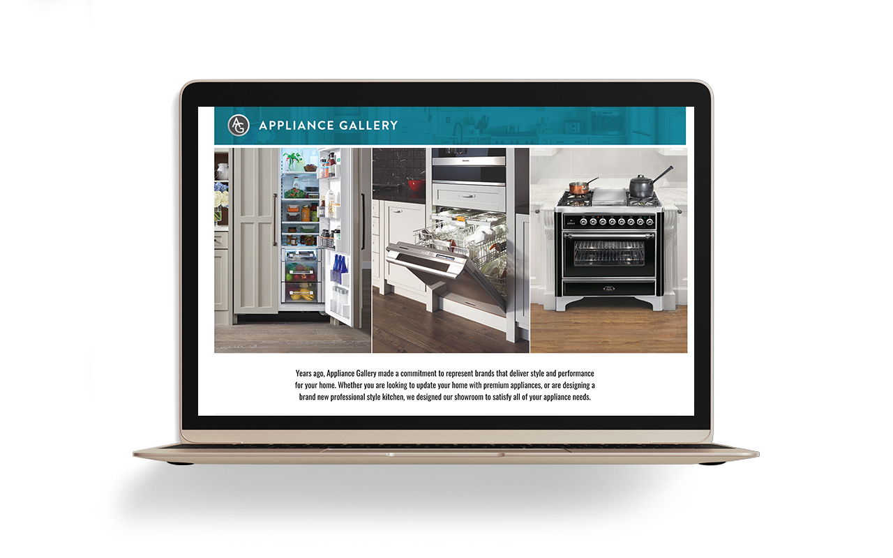Image of Appliance Gallery's Premium Brands DLP on a laptop