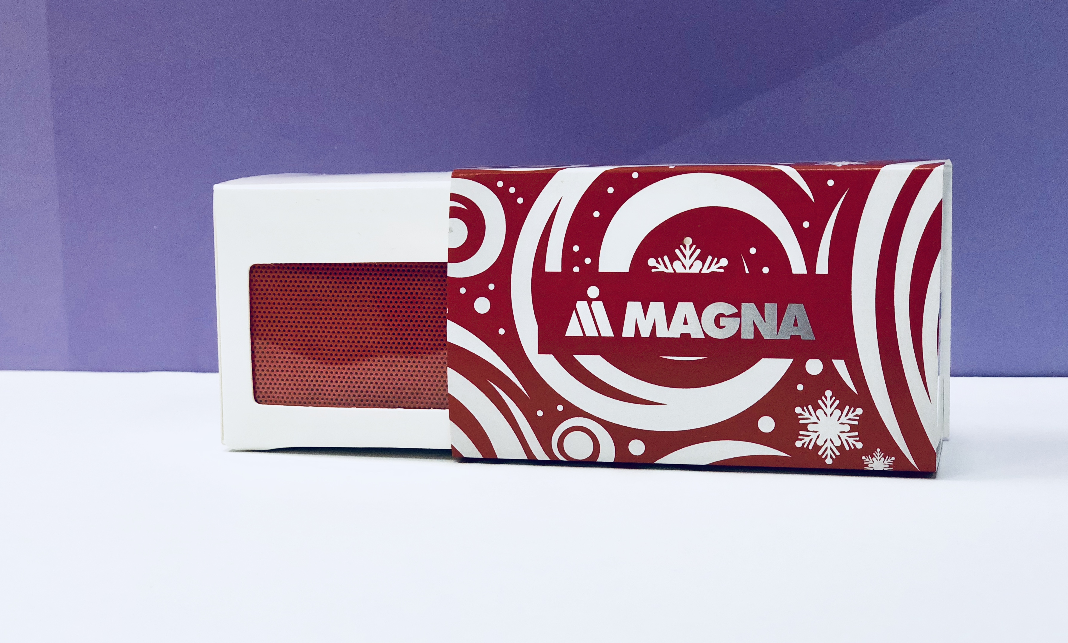 Custom bluetooth speaker and packaging for Magna