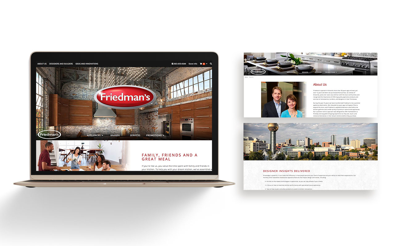 Preview of Friedman's Appliances website with laptop