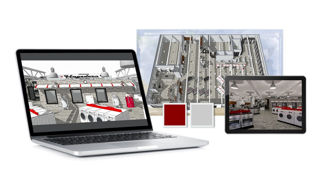 Images to represent the showroom redesign