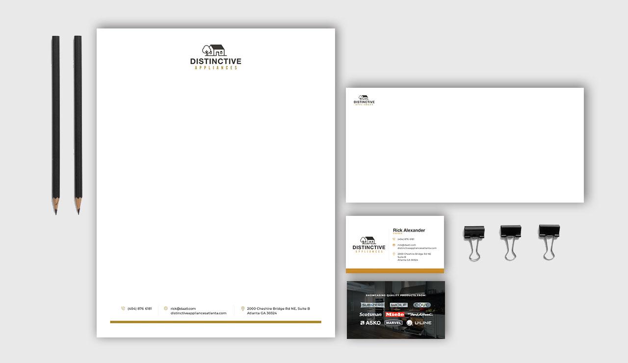 Distinctive Appliances digital letterhead and business cards