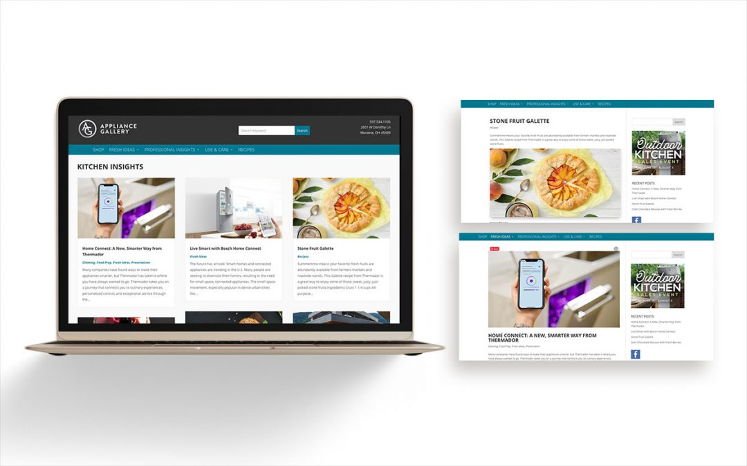 Preview of Appliance Gallery blog with laptop