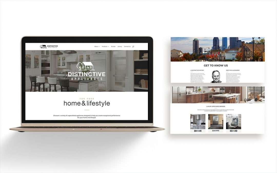 Preview of Distinctive Appliances website with laptop