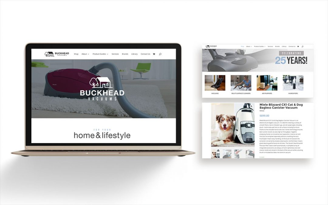 Preview of Buckhead Vacuums website with laptop
