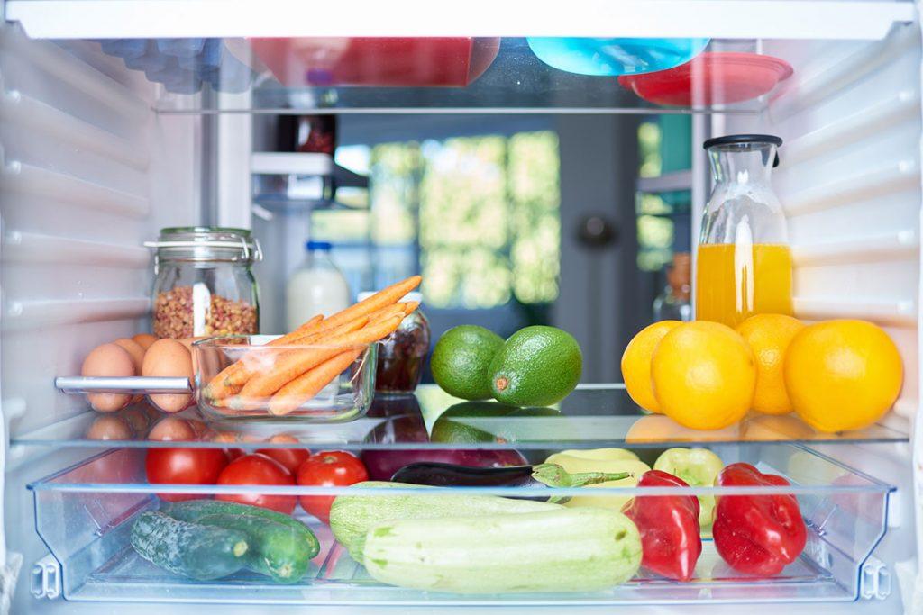 Refrigerator interior with good lighting and food